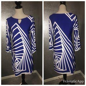Lavanya Abstract Blue & White  Dress: M
